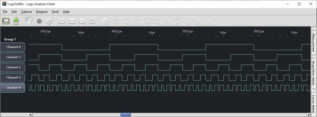 LogicSniffer channels output